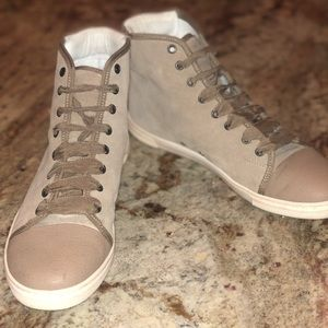 Lanvin suede lace up high top sneakers